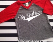 Baseball big brother shirt little brother shirt big sister shirt little sister shirt raglan baseball style big brother shirt add name