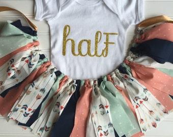 Boho Girl Outfit - Boho Birthday - Girl Boho Birthday - Girl Birthday Outfit - Boho Fabric Tutu - Boho Tutu - Birthday Outfit