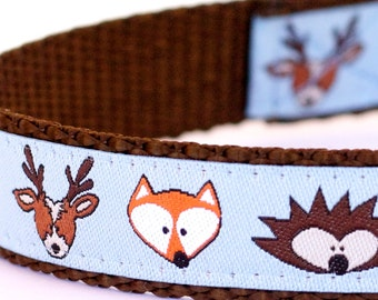 All In The Forest Dog Collar, Blue Pet Collar, Ribbon Dog Collar, Woodland Friends