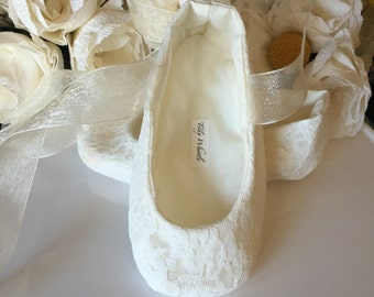 Ivory or White Lace Ballet Slippers - Flower Girl Shoes - Baby and Toddler Girl  - Christening - Baptism
