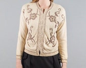 Vintage Cream Hook and Eye Rose Gold Beaded Cardigan 1950s 50s 1960s 60s