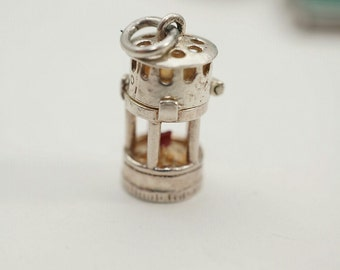 Vintage Sterling NUVO Miners Lamp Charm - Opens to reveal red wick