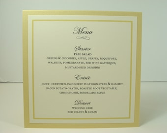 Menu and Table Number Tented Combination Sign with Your Table Number Front and Menu Back Wedding Reception Table Decor