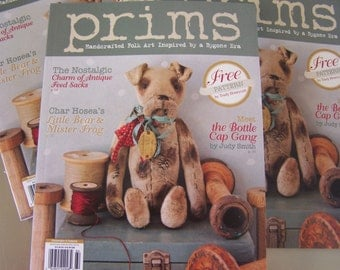 PRIMS Magazine Winter 2016 New Primitive and Folk Art Doll Animal Creations DIY Primitive Repurposed Feedsack SVF Sewing Clay Mixed Media