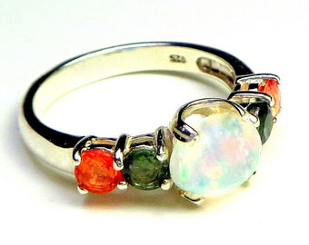 Sz 6.25,Welo Opal, Orange, Green Sapphire Accents,Sterling Silver Ring,Ethiopian Opal Ring,Lavender,Yellow,Orange,Green Fire, OOAK