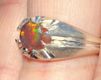 SALE, Black Welo Opal Ring, Sterling Silver, Gypsy Ring, Ethiopian Opal Ring, Mystical Stone, Orange Fire, OOAK