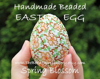 Handmade Beaded Easter Egg with 24K Gold Plated Seed Beads - Spring Blossom