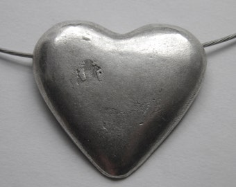 Silver Heart Necklace - Silver Cable Wire Necklace with Large Silver Heart