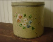 Vintage Hand Painted Tin Canister Rustic Farmhouse