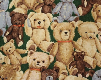"""Real Teddy Bear Cotton Oxford Japanese Fabric  50cm or 19"""" by 110cm or 42"""" wideth in Green"""