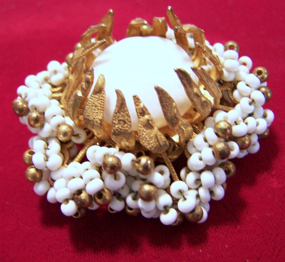 Signed Miriam Haskell White Seed Bead Pin Milk Glass Cabochon