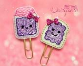 Grape Jelly and Bread Glitter Planner Clip Set