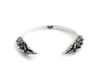 SPINAL SPIKE Medieval Dragon Silver Bangle Bracelet