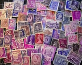 75 PURPLE Used World Postage Stamps for crafting, collage, cards, altered art, scrapbooks, decoupage, history, collecting, philately set 1a