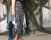 Mixed Blue Layered Peasant Skirt / Upcycled Maxi Skirt