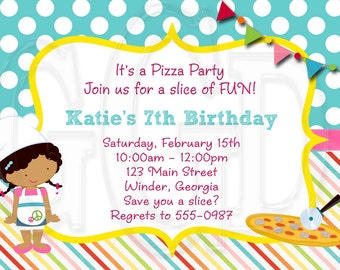Pizza Party Invitation -Digital File