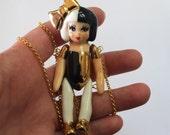Statement necklace , Necklace, Pendant, Golden chain with a ceramic pendant, ceramic figure chain pendant, clay pendant chain, clay jewelry