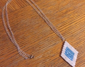 Beaded Pendant Necklace on Silver Chain