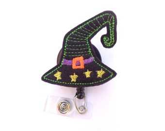 Halloween Badge Holder Retractable - Witch Wizard Hat - black felt badge reel - Nurse badge reel medical badge reel