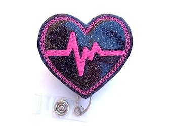 Badge holder retractable - nurse badge reel - Heartbeat EKG - black glitter vinyl with hot pink - Nurse RN medical badge reel - id holder