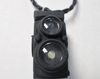 Camera Pendant Necklace with LED Light and Shutter Sound on Black Faux Leather Braided Cord