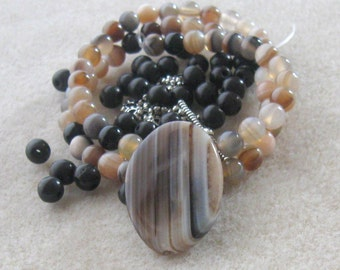 Striped Agate, Howlite Beads, Gemstone Beads, Jewelry Making Beads, Craft Supplies, DIY Jewelry Kit, Bead Kit, Bead Combo Necklace Kit