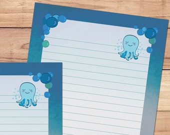 Bubbles the Octopus - A5 Stationery - 12, 24 or 48 sheets