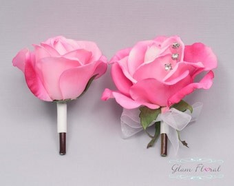 Hot Pink Rose Pin On Corsage and Boutonniere Set. Real Touch Flowers. Caroline Rose Collection