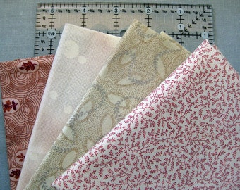 Civil War era reproductions  4 fat quarters Background Pinks  free shipping in the US