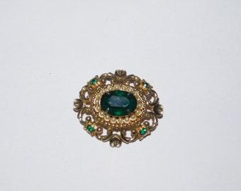 Vintage Coro Emerald Green Rhinestone Brooch