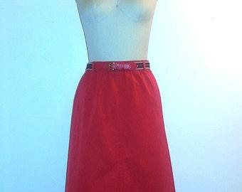 AUTUMN ARRIVAL 25% OFF 1960s Skirt ~ 60s Spring Skirt ~ Cherry Red