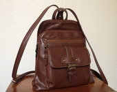 Vintage Brown Leather Mini Backpack