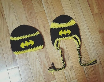 Little boys crochet batman hats!  Kids Batman Hats!  Toddler Batman Hats!