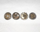 Antique Steel Cup Buttons Mix of 4