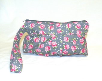 Pleated Wristlet in Sweet Pink Rose Print on a Soft Grey Background