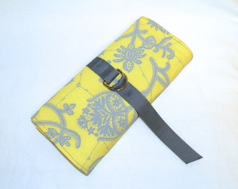 Jewelry Roll in Light Grey and Yellow Botanical Lace Pattern