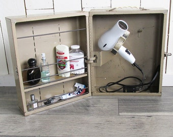 """Mid Century Sears Craftsman Wall Mounted Metal Tool Cabinet - Drill Box """"Ready for Repurpose"""""""