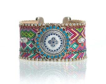 Friendship bracelet cuff 'Anjali' - leather cuff bracelet with handsewn Swarovski crystal embellishment - bohemian statement jewelry