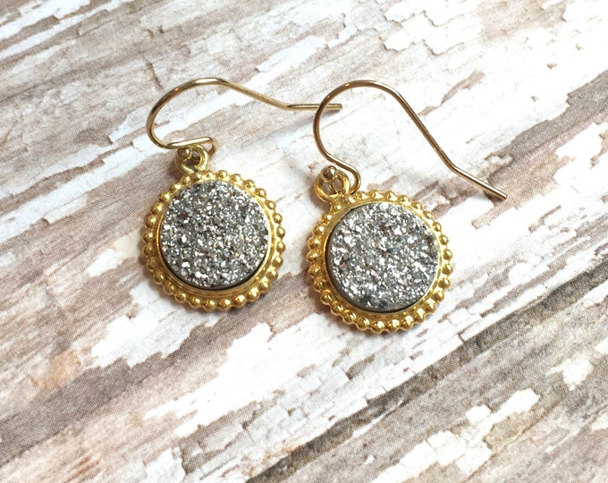 Gold and Silver Druzy Earrings