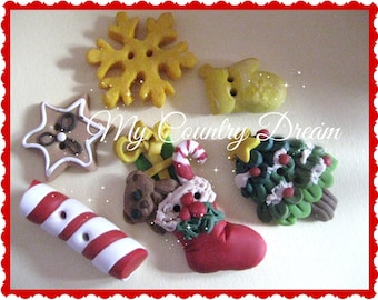 "handmade Buttons ""Christmas Time"" - polymer clay buttons - set of 6 pcs."