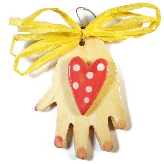 Hand and Heart Ceramic Thank You Gift