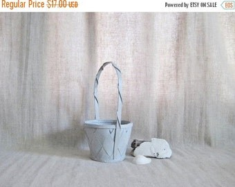 Happy 4th with 40% Off Soft Gray Flower Girl Basket / Upcycled Painted Basket / Simple Little Gray Basket for Your Flower Girl