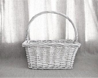 White Lace Basket for Wedding or Reception Decor / Shabby White Basket for Wedding or Reception / Program Basket / Favor Basket