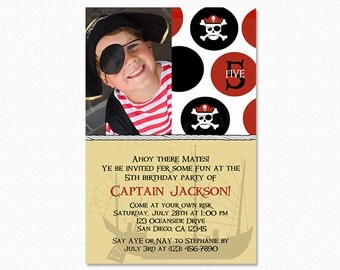Pirate Birthday Party Invitation, Black, Red, Pirate Map, Personalized, Printable or Printed