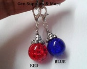 Red Crackle Floating Dangle Charm, Blue Crackle Floating Dangle Charm, Floating Dangle Charm, Crackle Beads, 12mm Crackle Beads