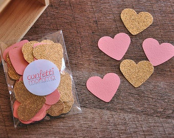 Bridal Brunch Party Decor.  Handcrafted in 2-3 Business Days. Bridal Shower Decorations. Coral and Gold Heart Confetti 50CT.