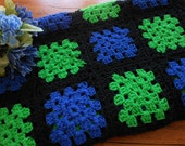 Vintage Granny Square Hand Crocheted Afghan Throw Blue And Green Afghan Throw Blanket Free Shipping