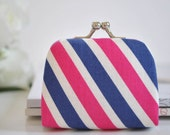 Rugby Stripe in Pink & Navy - Tiny Kiss lock Coin Purse/Jewelry holder