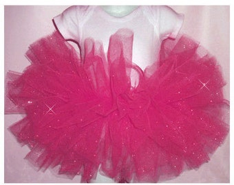 Glitter Tutu , Hot Pink Tutu , Hot Pink Glitter Tutu, Shocking Pink Glitter Tutu,  Glitter Birthday Tutu Sizes Baby-Girls
