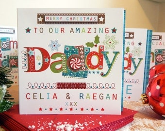 Christmas Daddy card. Personalised Daddy Christmas card Special custom made Christmas card